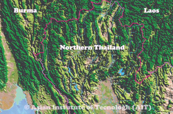 Map of Northern Thailand, Burma and Laos