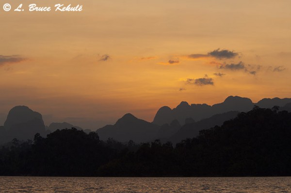 Limestone karst mountains at sunset